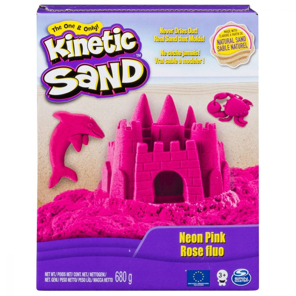 Nisip colorat Kinetic Sand, Roz Neon, 680g